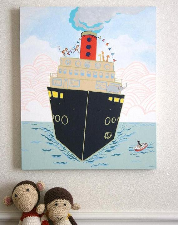 elephant boat print